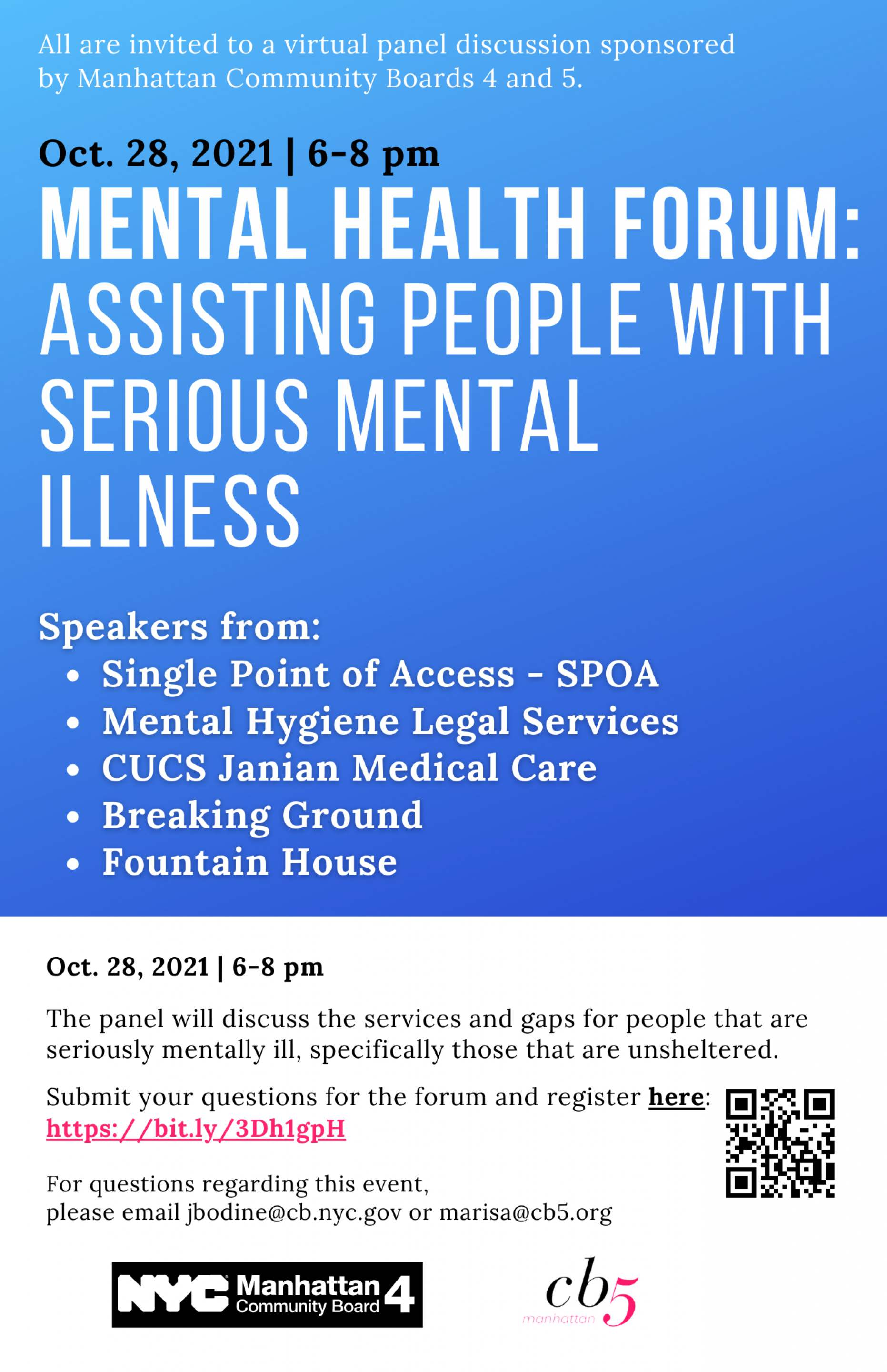 Banner Photo: Mental Health Forum:  Assisting people with serious mental illness